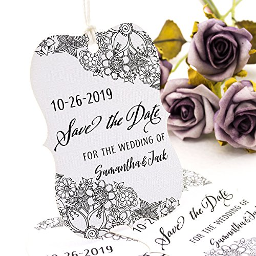 Summer-Ray 50 Personalized White Wedding Save The Date Tags Little Violin Design I ()