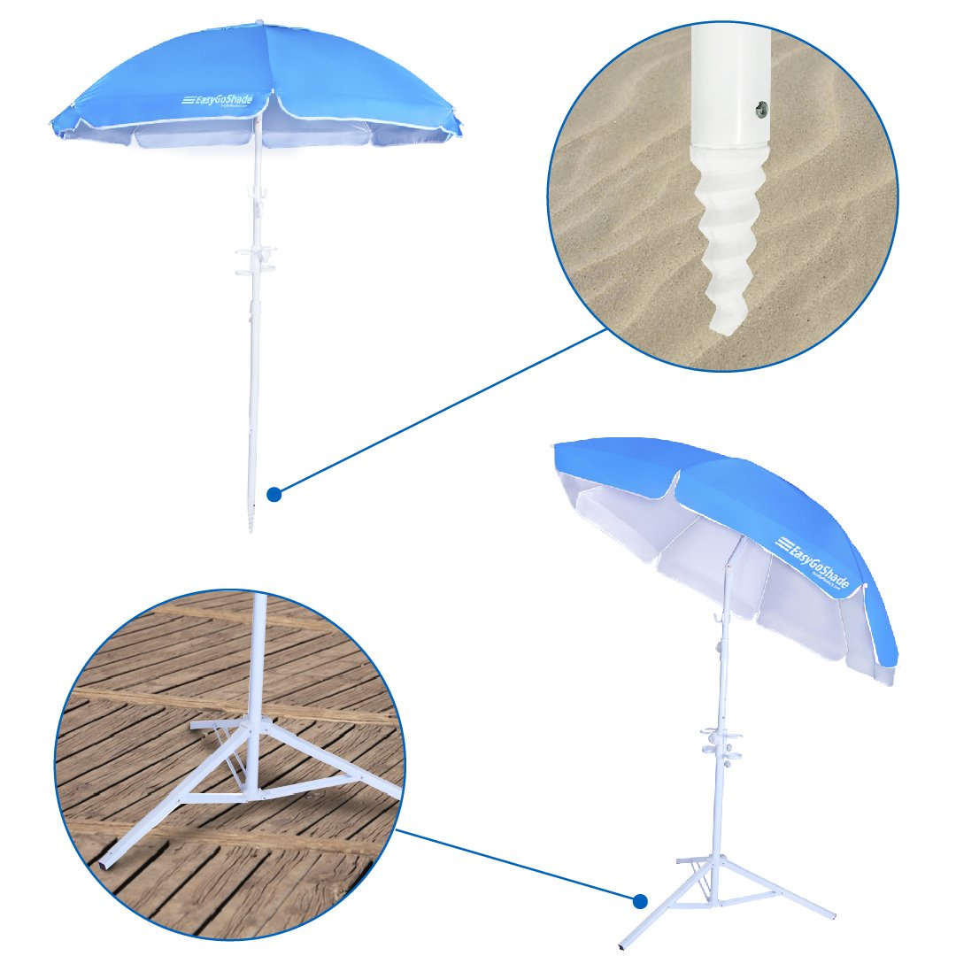 5.5' EasyGo Shade Sports Portable Sun Shade Umbrella with Tripod Base Beach Stake and Tilt Feature. Great for Soccer, Baseball and all Kinds of Outdoor Sports - BLUE Color   B00NLQ1PL8