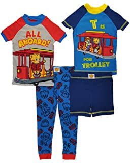Daniel Tiger Boys All Aboard 4 Piece Cotton Pajama Set