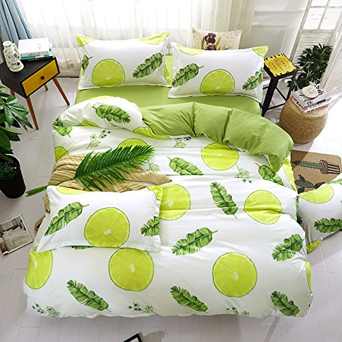 BEST.WENSD Home Decorative bedding sets cotton lemon bed linen +duvet cover +pillowcase for Teen Girls Boys Kids Adults (Lemon Handled)