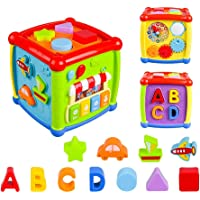 VAJEME Baby Activity Cube, Shape Sorter Blocks Baby Toy 18 Months and Up, Music Learning Toys for Toddlers Infant…