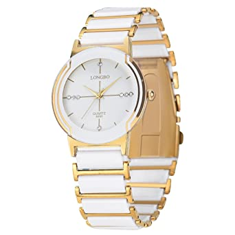 a96d8c0d6 Men's White Gold Ceramic Watches Noble Couple Dress Fashion Watch Rinestone Business  Wristwatch