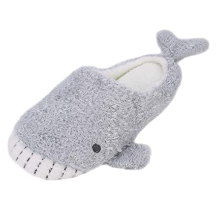 27e487ee0ae3a0 Amazon.com  QCHOMEE Cute Whale Plush Slippers Japanese Girl Plush Shark  Soft Bottom Indoor Home Flat Floor Cotton Slipper  Home   Kitchen