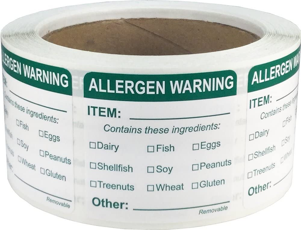 Removable Allergen Warning Labels General Food Rotation 2 Inch Square 500 Adhesive Stickers