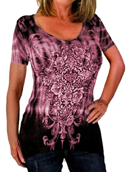 2e3a58465c45f Image Unavailable. Image not available for. Color  FieerWomen Printing  O-Neck Fitted Short-Sleeve Tie Dye Plus-Size Stylish Tees