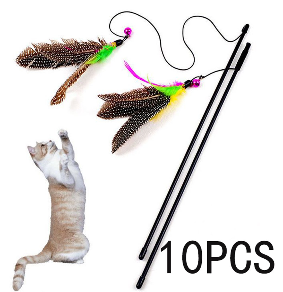 10 PCS Flying Feather Cat Teaser Toys Kitten Cat Interactive Toy Plastic Rod with Bell and Feather (Feather Toy with Wire) ZD