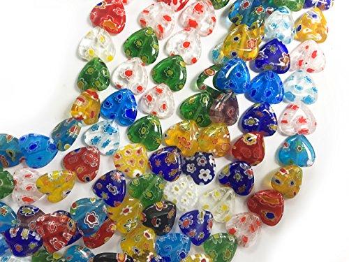 ALL in ONE Millefiori Lampwork Glass Beads for Jewelry Making DIY (12mm Flat Heart) - Lampwork Beads Jewelry