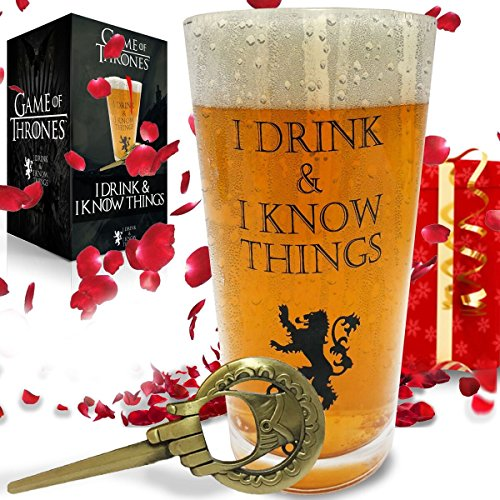 I Drink and I Know Things Beer Glass + FREE Hand Of The King Bottle Opener Made In Casterly Rock – Game Of Thrones Inspired – With Unique Gift box included by Desired Cart