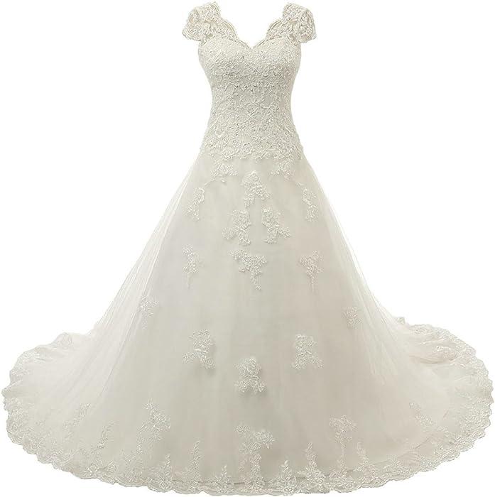 RohmBridal Womens V-neckline A-line Vintage Lace Bridal Wedding Dress Ivory Size  0 at Amazon Women s Clothing store  4b38db024c