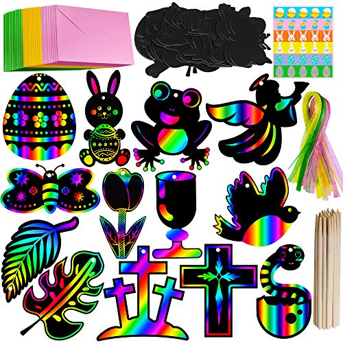 (Supla 26 Set Scratch Easter Day Ornaments Magic Art Rainbow Scratch Easter Day Ornaments Egg Cross Bunny Monstera Butterfly Tulip Cutouts Hang Tags with Ribbons Scratching Tools Envelopes Stickers)