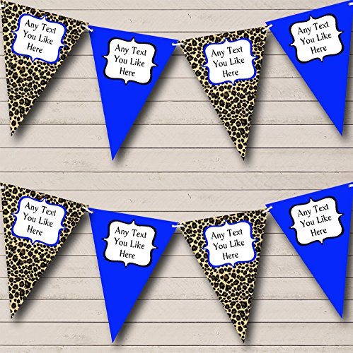 Leopard Print Royal Blue Personalized Hen Do Night Party Bunting Banner