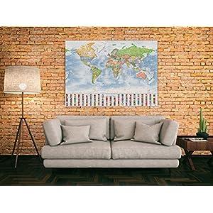 J.Bauer Karten Mapa del Mundo político, 140×100 cm, en Inglés, Versión 2019