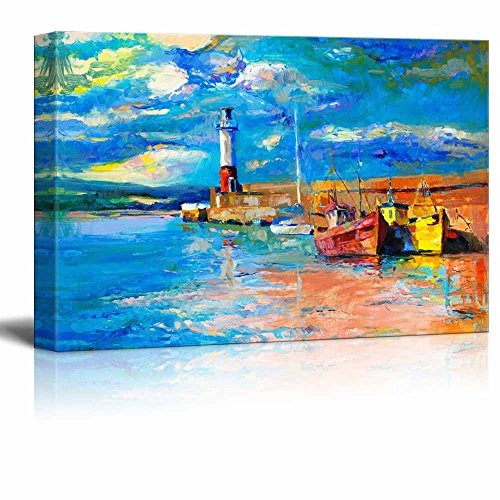 Sun Oil Painting - wall26 Canvas Prints Wall Art - Original Oil Painting of Lighthouse and Boats on Canvas.Rich Golden Sunset over Ocean - 12