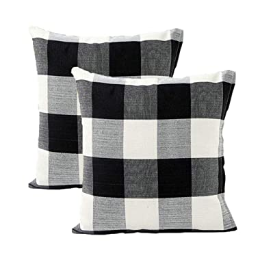2 Pack Classic Black White Plaid Thickened Cotton Linen Square Throw Pillow Cover Cushion Cases For Home Sofa Bedroom 18x18 Inches (5 Colors)