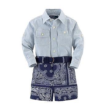 1e16c3bf Ralph Lauren Polo Baby Boys Twill Shirt & Bandana Shorts Set 12 Months