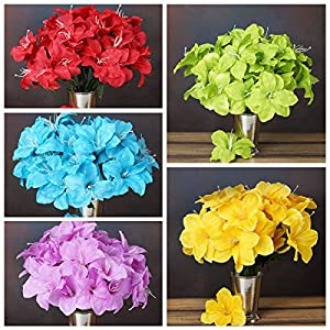BalsaCircle 60 Silk Easter Lilies - 10 Bushes - Artificial Flowers Wedding Party Centerpieces Arrangements Bouquets Supplies 32
