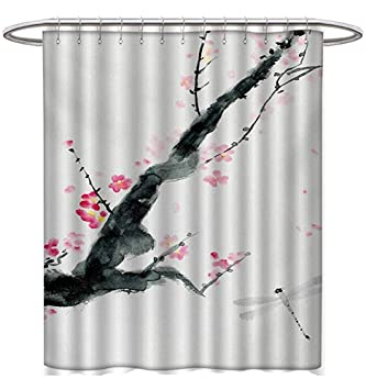 Starowas Dragonfly Shower Curtains Fabric Branch A Pink Cherry Blossom Sakura Tree Bud Dramatic