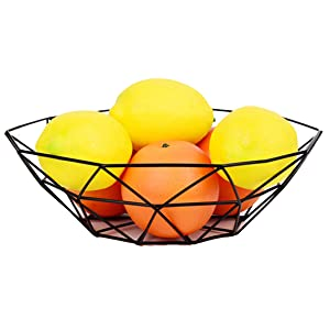 GOLDCHEE Creative Black Iron Fruit Bowl, Countertop Storage Basket Dish, Fruit & Vegetables Storage Basket for Kitchen, Countertop