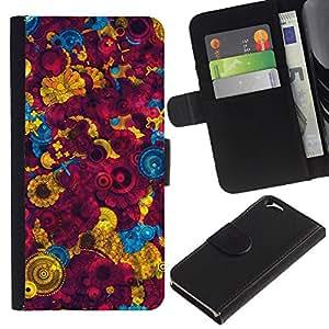 KingStore / Leather Etui en cuir / Apple Iphone 6 / Fondo de pantalla colorida Pintura Dise?o Arte