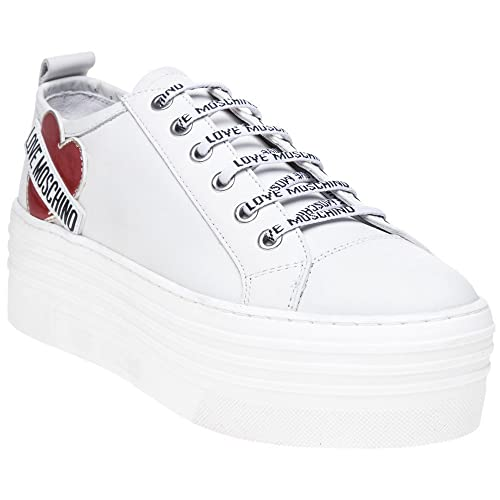 newest 0355c 5ede6 Love Moschino Heart Flatform Sneaker Donna Sneaker Bianco ...
