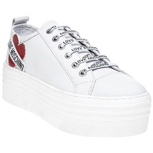newest 8dce7 0326d Love Moschino Heart Flatform Sneaker Donna Sneaker Bianco ...