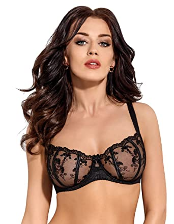 7443fd4789f Gorsenia Salma Black Floral Embroidered Balconette Bra K292 30E (DD UK)