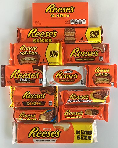 Reeses Sticks (Reeses Peanut Butter Candy Mega Variety Sack Reeses Variety Bundle Assortment Featuring Pieces, White, Dark, Big Cup, Reeses Sticks, Fast Break & More!)