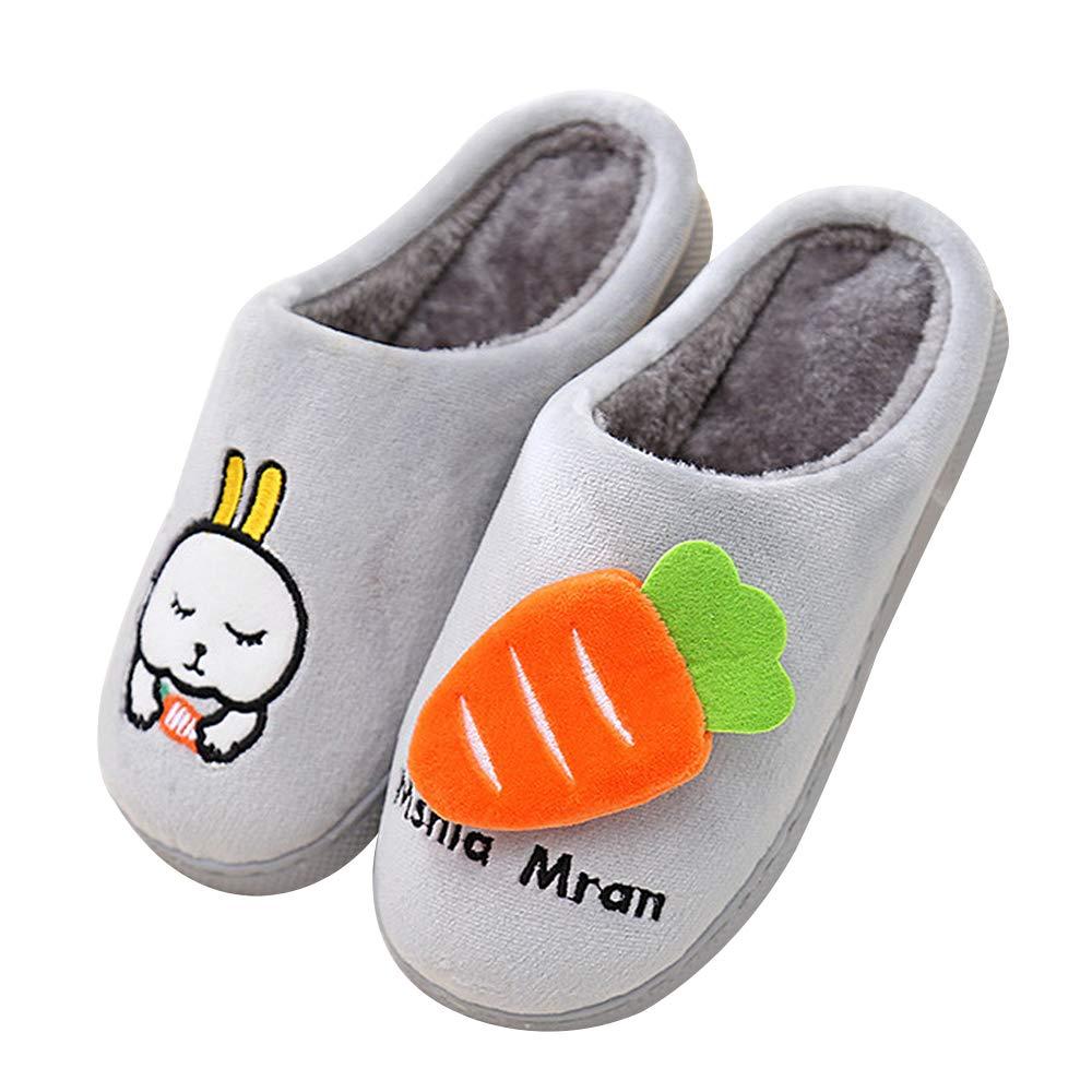 QZBAOSHU Chaussures Enfants Gar/çon Fille Chaussons Hiver Peluche Pantoufles Lapin Dessin Anim/é Mignon