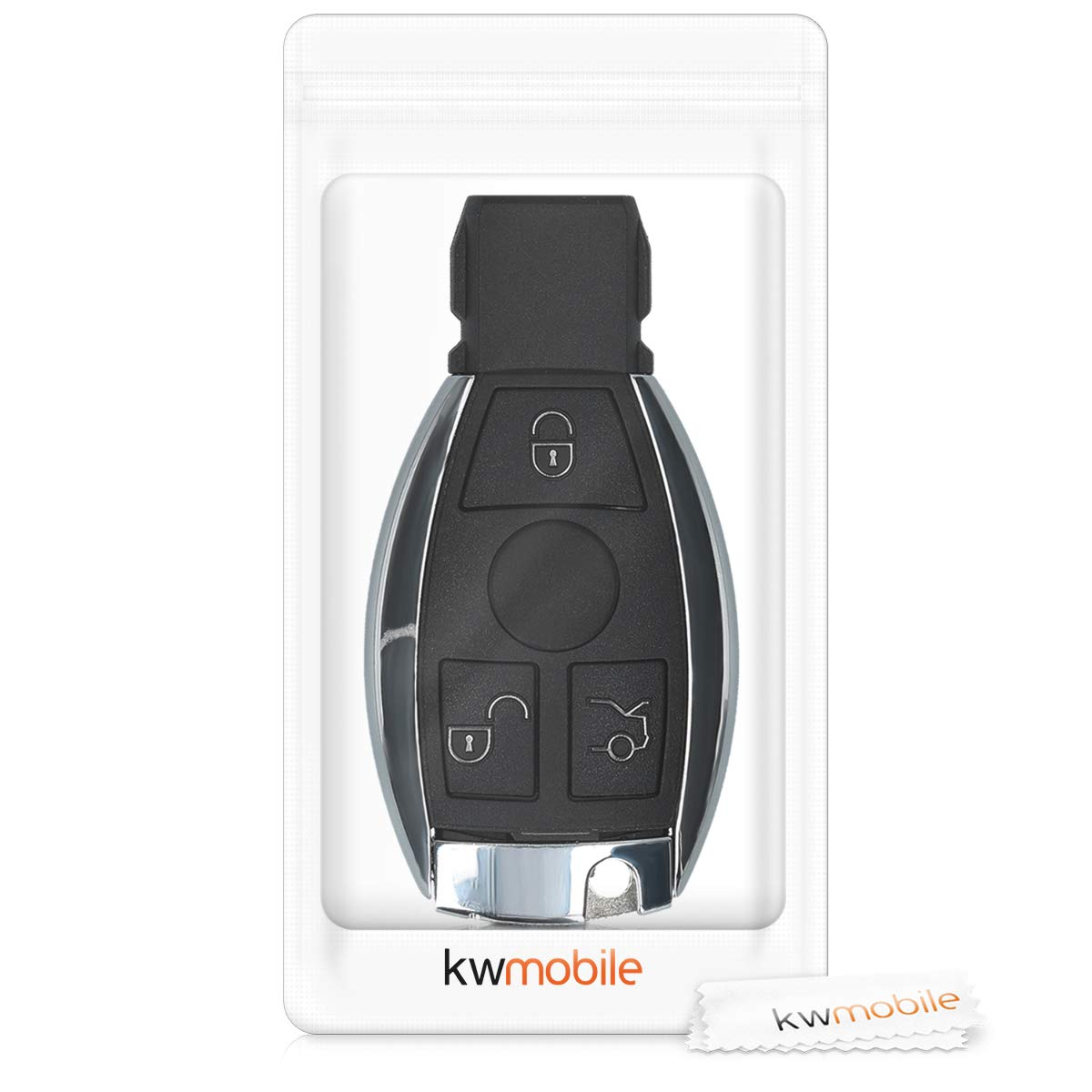 kwmobile Car Key Case for Mercedes Benz Black Protective Plastic Key Fob Shell Replacement for Mercedes-Benz 3 Button Car Key