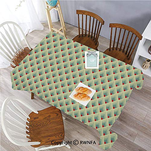 Rectangle Tablecloth Stain Resistant and Waterproof Mountain Shaped Upward Triangles Symmetrical Diamonds Contemporary Art Dining Room Polyester Fabric Table Cloth, 55 x 70 inch Pale Green Red Ivory (Iron And Wine Upward Over The Mountain)