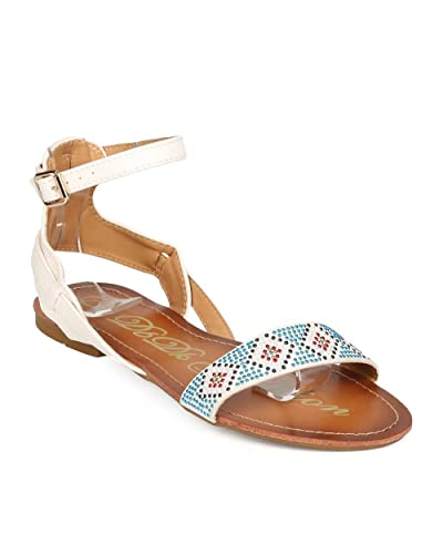 192f1a49ca4 DbDk Women Leatherette Open Toe Boho Tribal Studded Gladiator Sandal ED54 -  White (Size