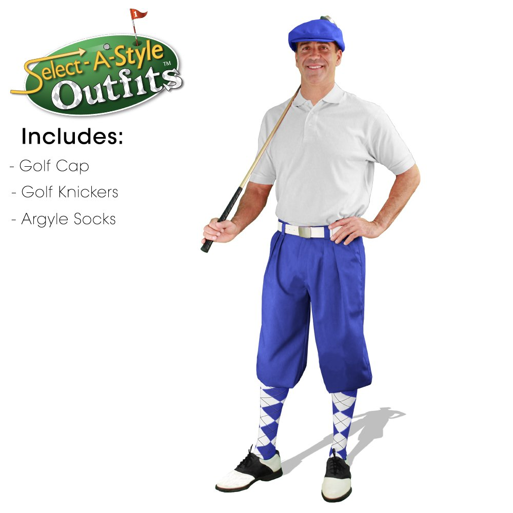 Golf Knickers Mens Select-A-Style Outfit - Royal - Waist 34 - Sock - BK/RB/WH