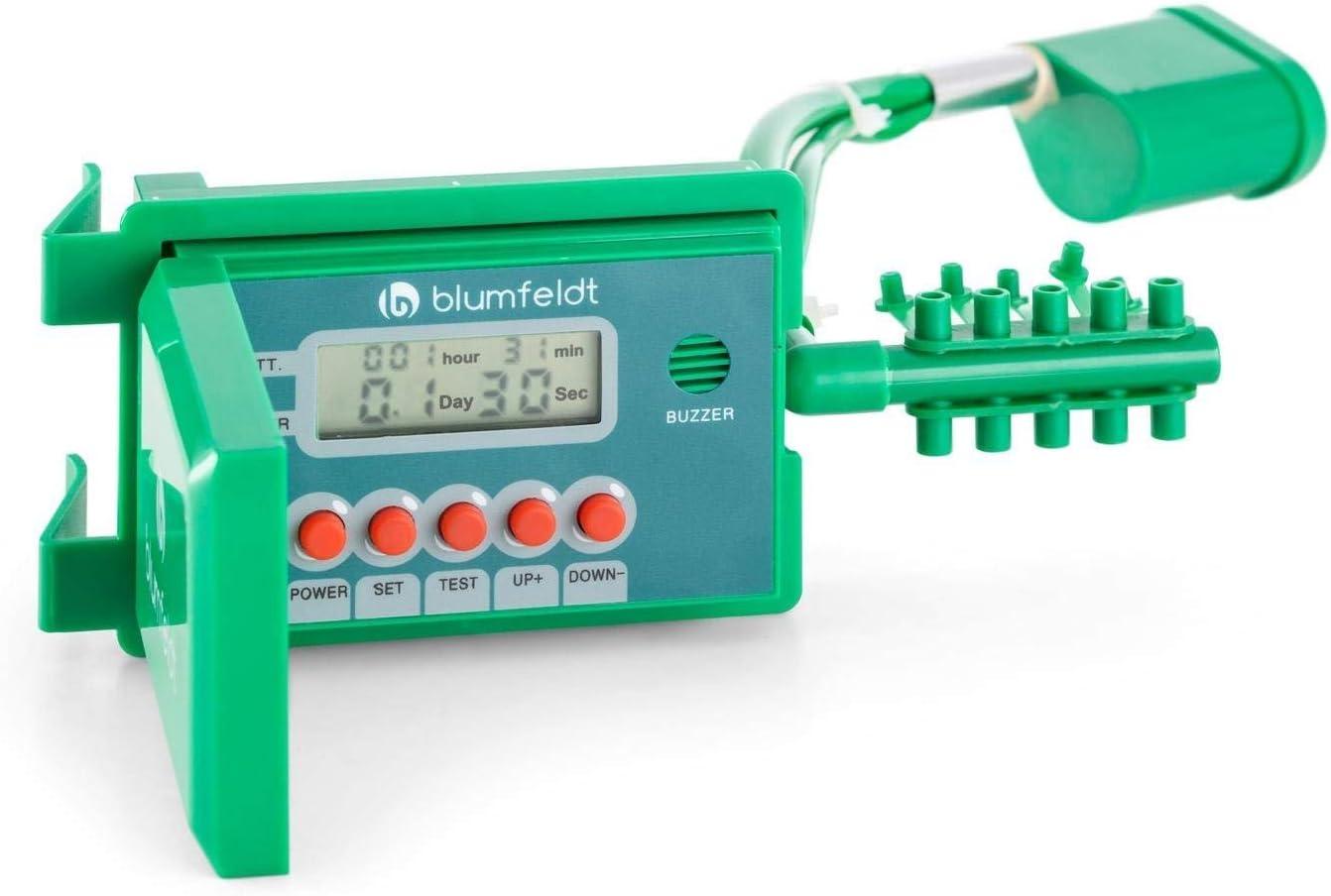 Blumfeldt Aquanova Sistema de riego autom/ático con Bomba de Agua Manguera Recortable de 10 m, regado hasta 10 Plantas, sin Grifo, programable Vacaciones, Display LCD manejo Sencillo