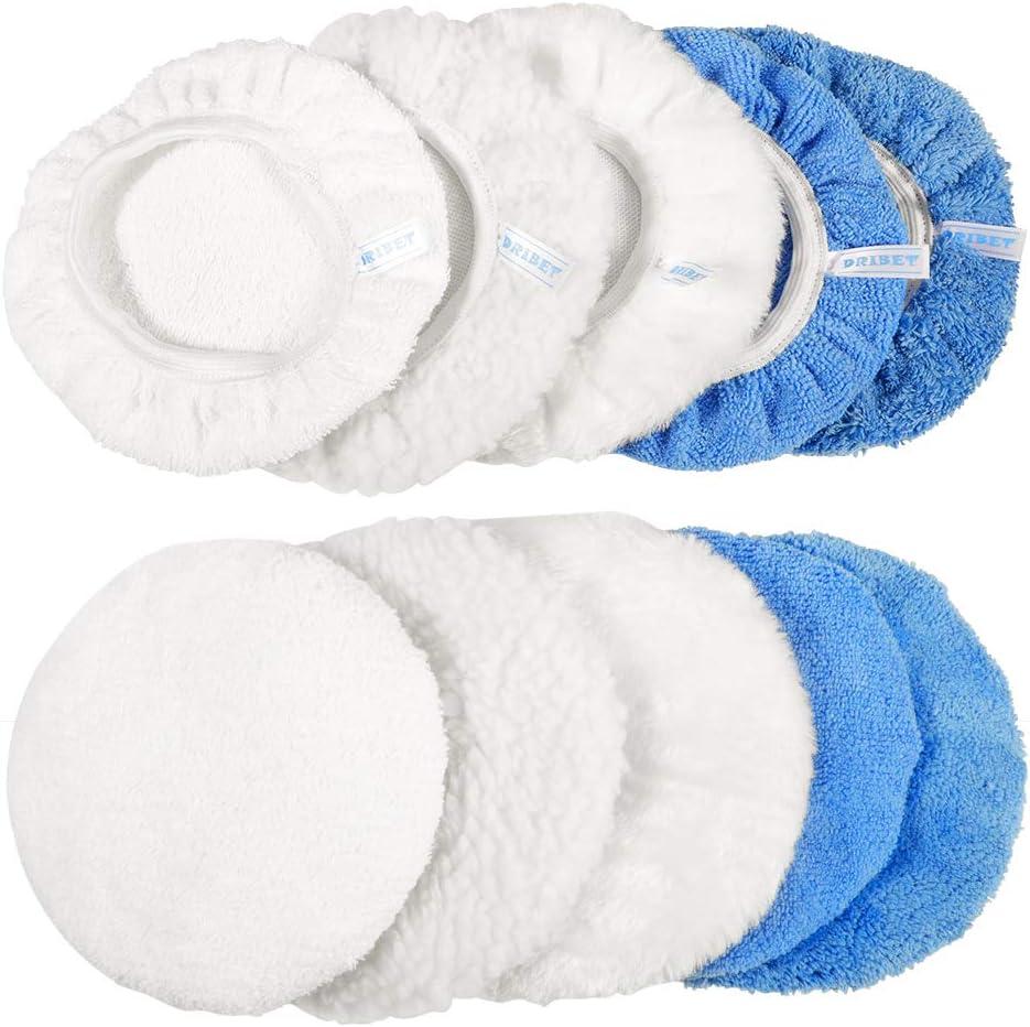 DRIBET 8 Packs Car Polisher Pad Bonnet 7 to 8 Inch Car Polishing Bonnet Buffing Pad Including 2 Lambs Wool Polishing Cover and 6 Woollen Waxing Pad