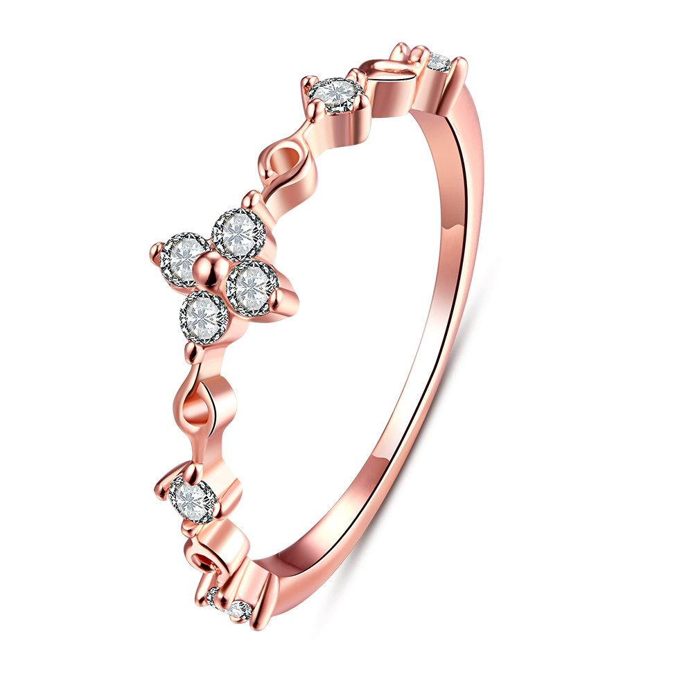 28a375ce1 Amazon.com: LuckyWeng Women's New Exquisite Fashion Jewelry Rose Gold Thin  Diamond Zircon Ring: Jewelry