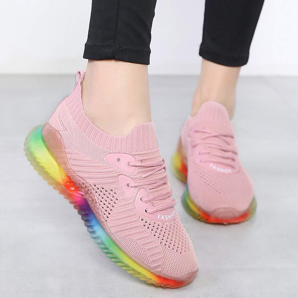 Sportschuhe Running Damen Laufschuhe Outdoor Fitness Profilsohle Sillor Mode Mesh Atmungsaktiv Sohle Sneakers Regenbogen Leichte Freizeit Turnschuhe VzqSUMpG