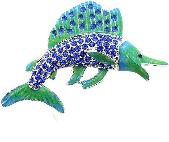 Fantasyard Blue Crystal Fish Pin Brooch