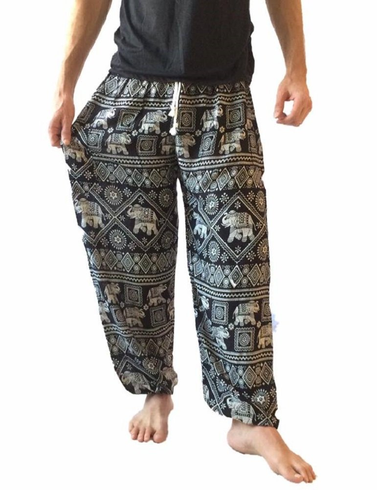 Love Quality Men's Baggy Printed Harem Pants (Black) by Love Quality (Image #1)