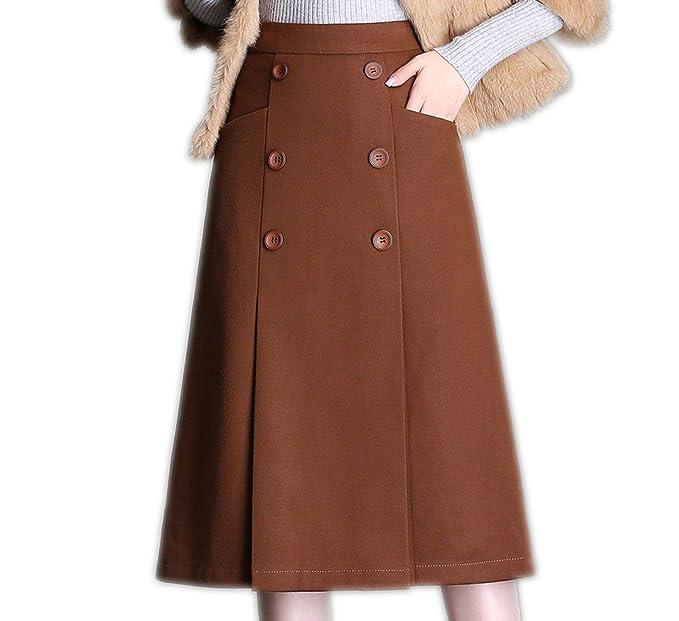 ConTerpickLife Falda de Lana Media Larga con Doble Pecho, Color ...