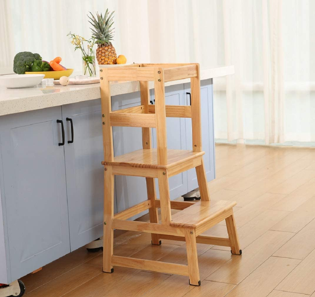 Natural Wood Kitchen Helper for Toddlers Children Kids Made in Natural Wood According to Montessori Learning Tower Designed by Expert Educators