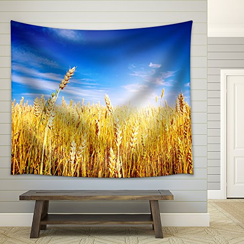 Golden Wheat Field with Blue Sky in Background Fabric Wall Tapestry