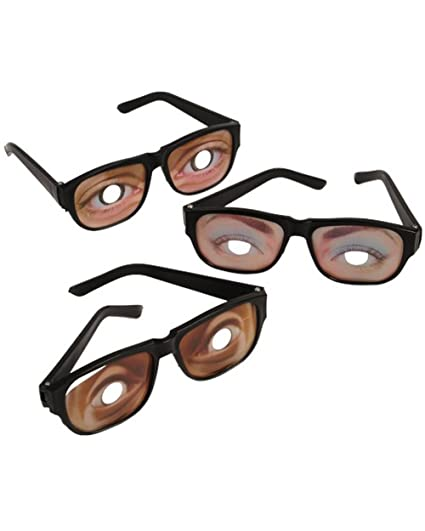 a54cb85d45f Amazon.com: Funny Eyes Disguise Glasses (1 Dozen): Toys & Games