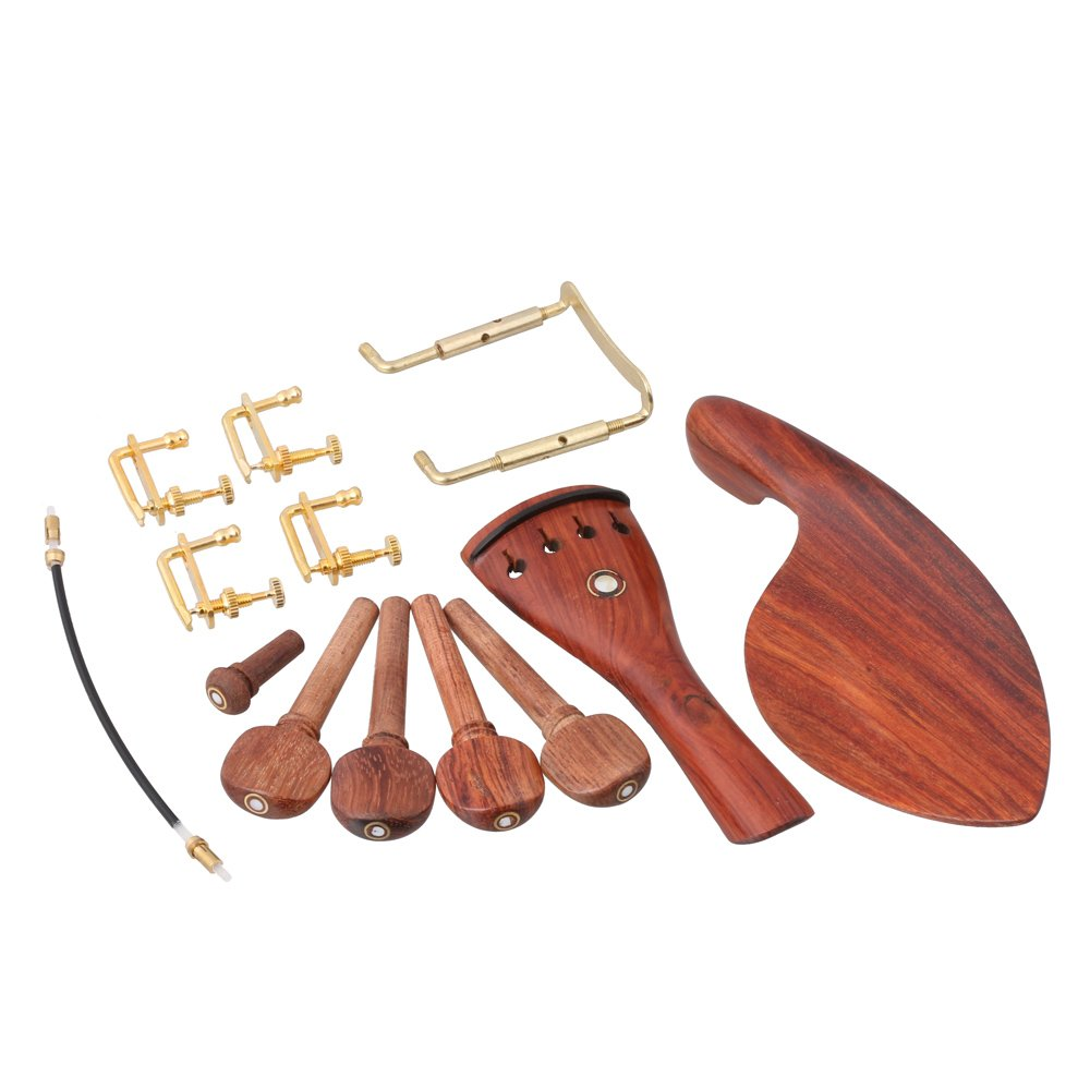 LYWS Set Rosewood Violin Parts 4/4 Fittings Chinrest/ Pegs /Tailpiece /Tuners /Endpin /Tail Gut / Clamp