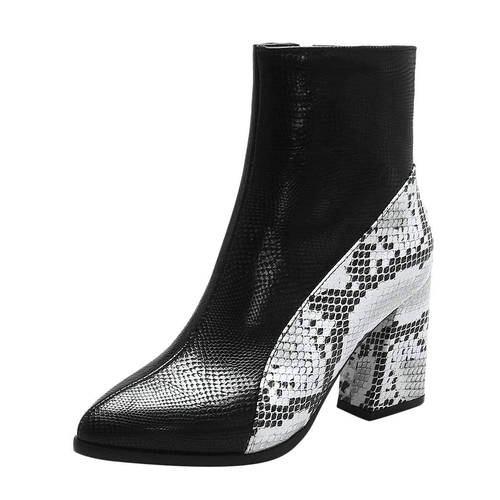 Redacel Women's Boots Casual Shallow Square Heel PU Snake Print Ankle Boot(39,Black by Redacel