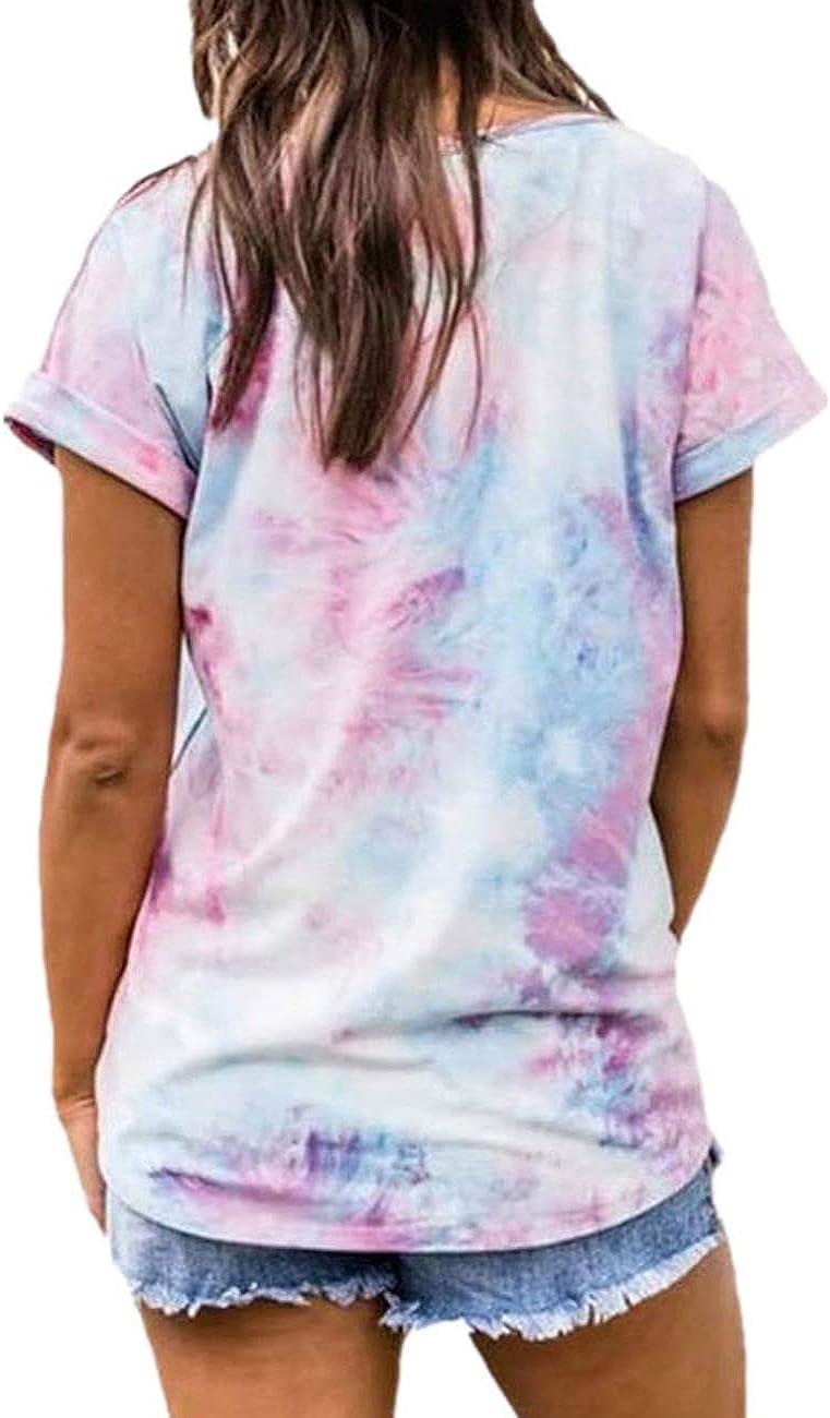 GLOSTORY Womens Summer Short Sleeve Loose V-Neck Tie Dye T Shirt Blouse Tops