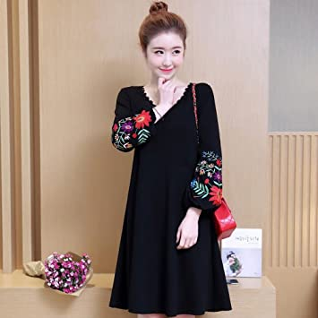 Womans Dress Womens Dress Lantern Sleeve Embroidered Loose Black Dresses - Floral V Neck Casual,