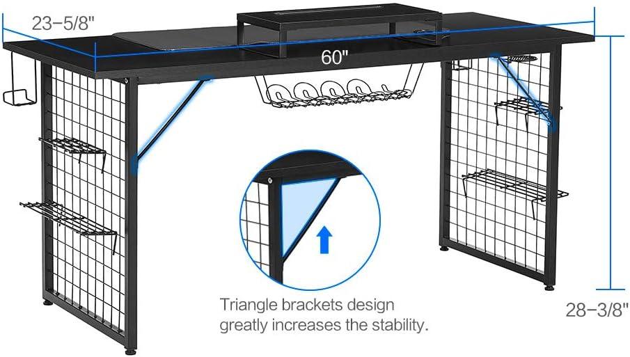 Mesa de Juego para Videojuegos, Color Negro, con LED RGB, Suave ...