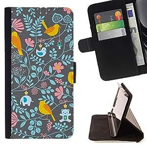 For HTC One M9 Case , Estampado de flores del papel pintado del trullo Rosa- la tarjeta de Crédito Slots PU Funda de cuero Monedero caso cubierta de piel