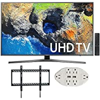 Samsung 65 4K Ultra HD Smart LED TV - UN65MU7000 (2017 Model) w/ Wall Mount Bundle Includes, Ultra Slim Low Profile Flat Wall Mount & Transformer Tap USB w/ 6-Outlet Wall Adapter and 2 Ports