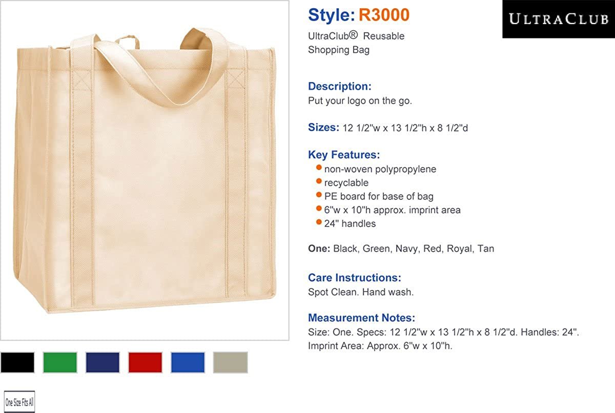 ba85fcb35 Amazon.com: UltraClub® Reusable Shopping Bag - Black: GotApparel